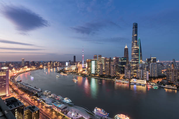 Cityscape and city skyline at sunset in Shanghai,China stock photo