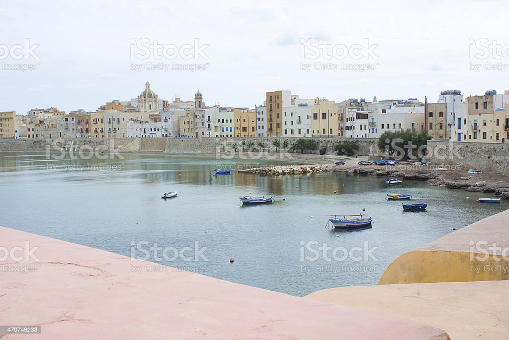 Cityscape and coastline stock photo
