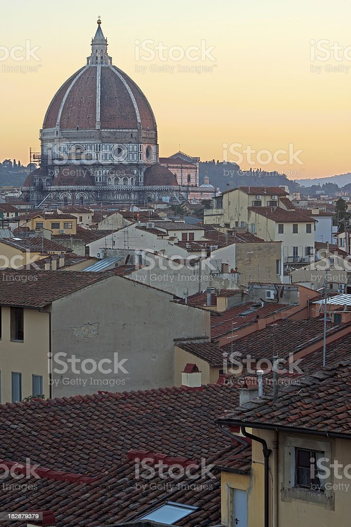 Cityscape and Duomo di Firenze at Sunset, HDR royalty-free stock photo