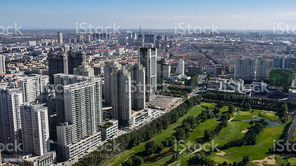 Cityscape and green space in Harbin, China stock photo