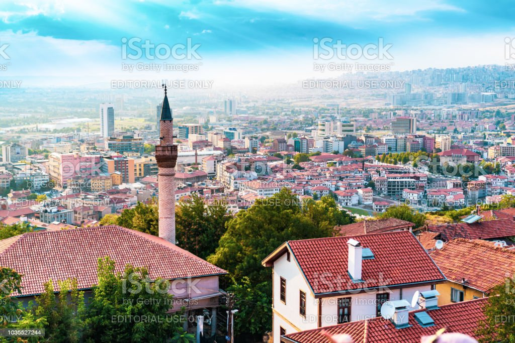 Cityscape and Haci Bayram view from Ankara Castle stock photo