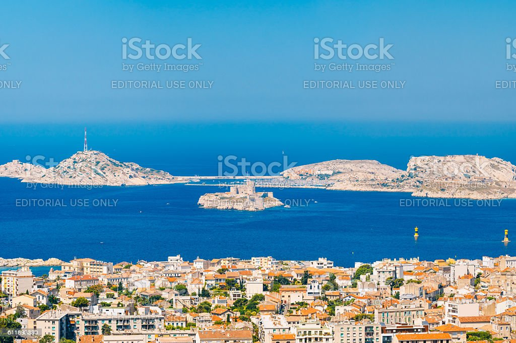 Cityscape And If Castle In Marseilles, France. Sunny Summer Day stock photo