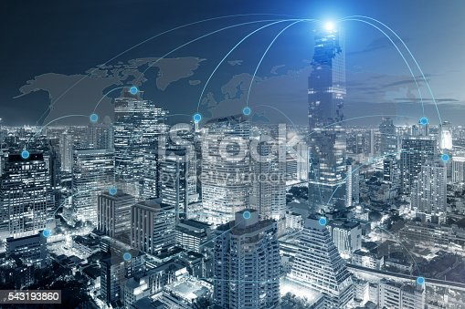 656082444 istock photo Cityscape and network connection 543193860