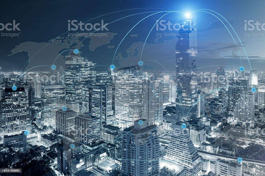 Cityscape and network connection stock photo