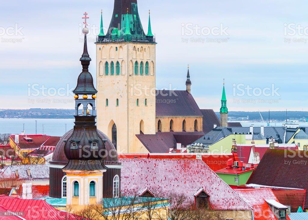 Cityscape and Saint Olaf Church in Old town of Tallinn stock photo