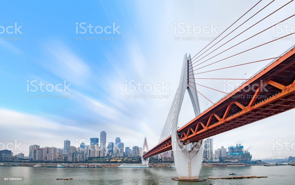 cityscape and skyline of chongqing in cloud sky stok fotoğrafı