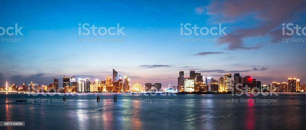 cityscape and skyline of hangzhou from water stock photo