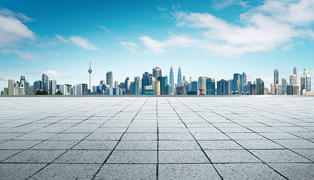 cityscape and skyline with empty floor. - 쿠알라룸푸르 뉴스 사진 이미지
