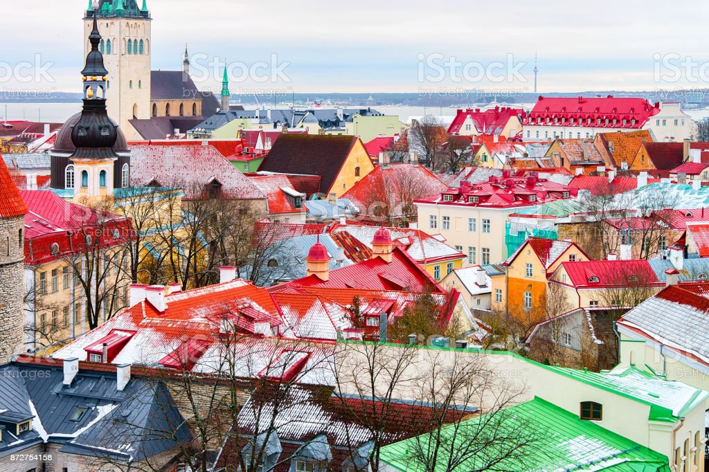 Cityscape and St Olaf Church at Old town of Tallinn stock photo