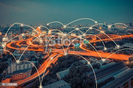 istock cityscape and technology and network connection concept 621358098