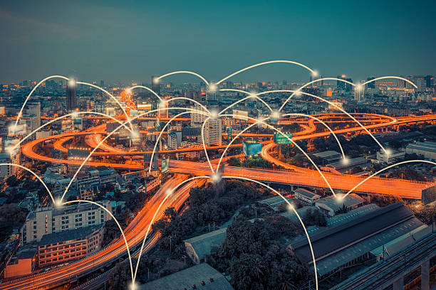 cityscape and technology and network connection concept - transmission lines stock photos and pictures