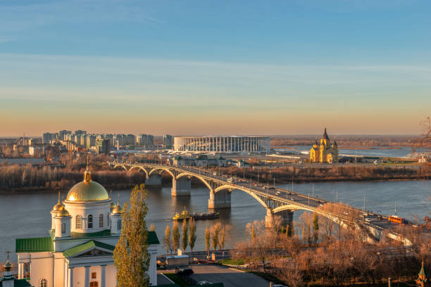 Cityscape and the bridge across river. Nizhny Novgorod, Russia stock photo