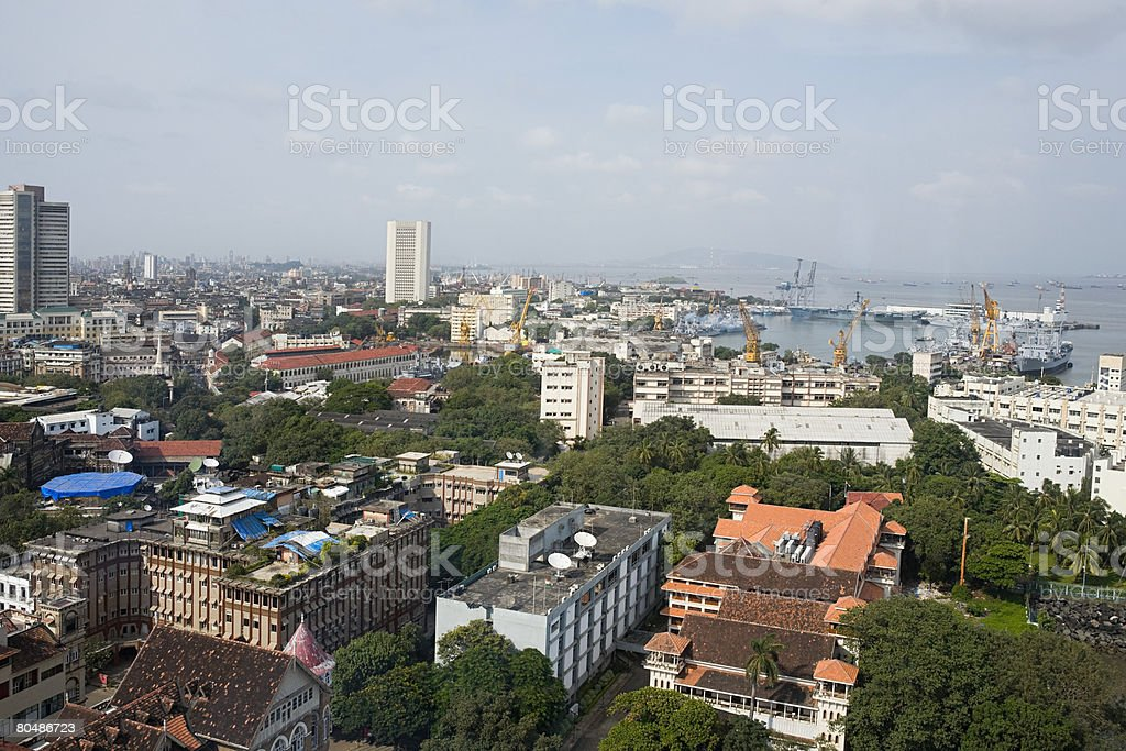 Cityscape and the sea royalty-free stock photo