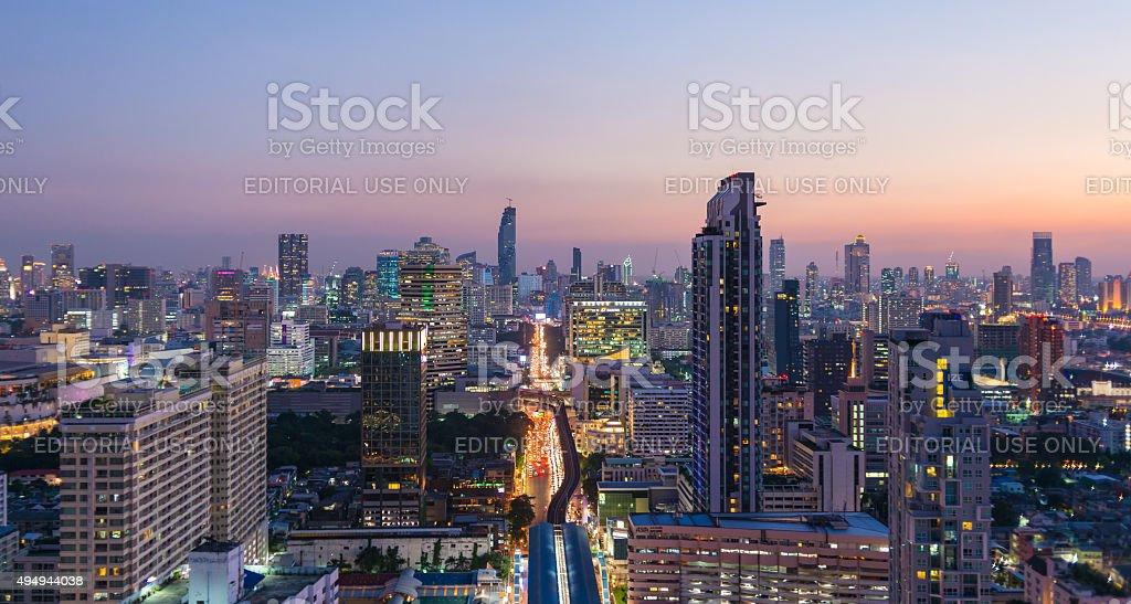 Cityscape around Ratchathewi district, Bangkok stock photo