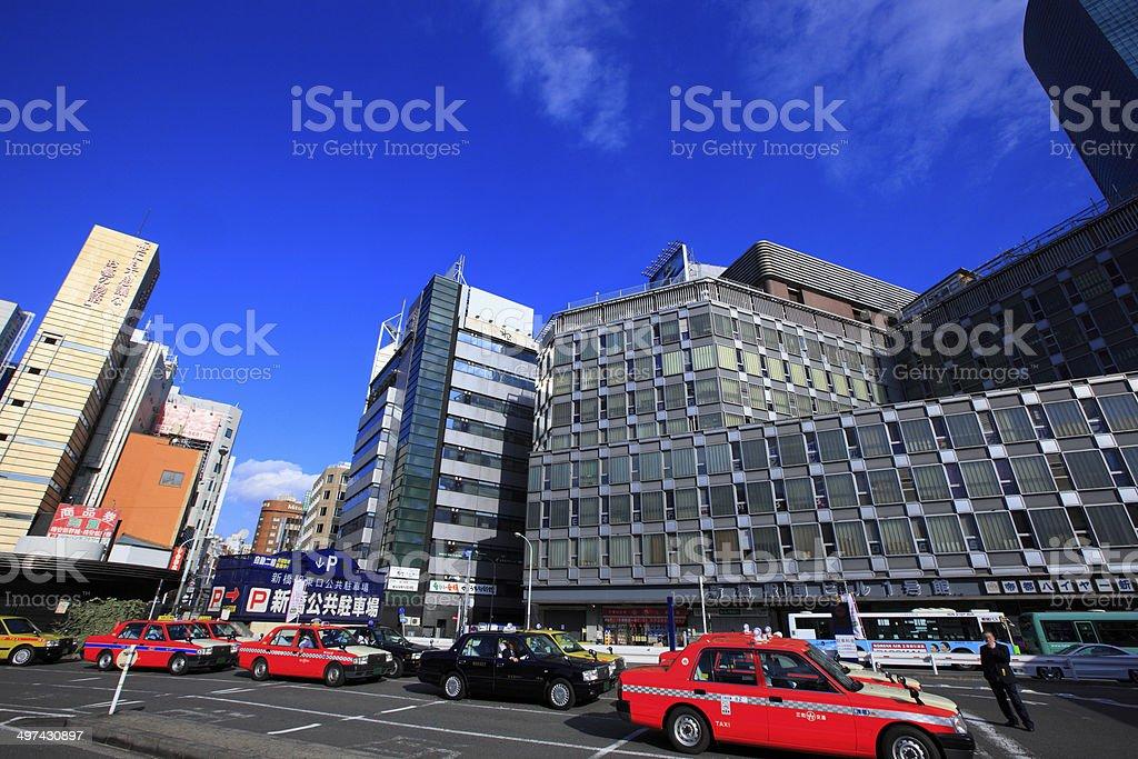 Cityscape around Shinbashi StationShiodome Exit stock photo