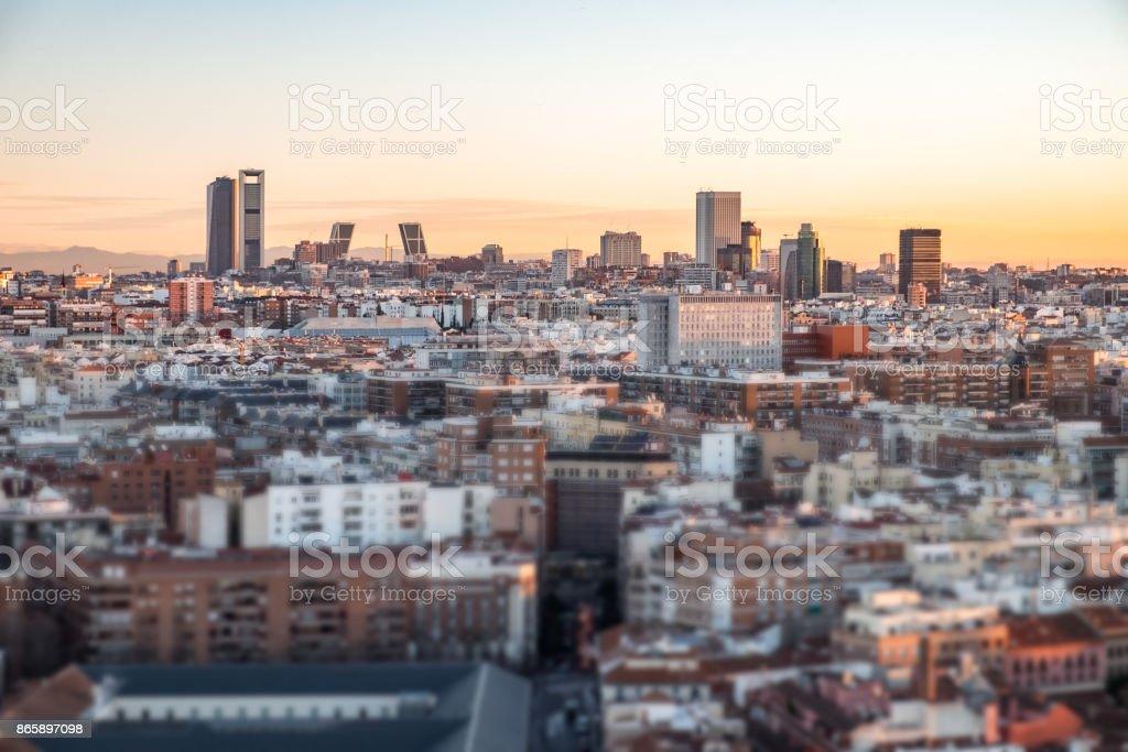 Cityscape at dusk. stock photo