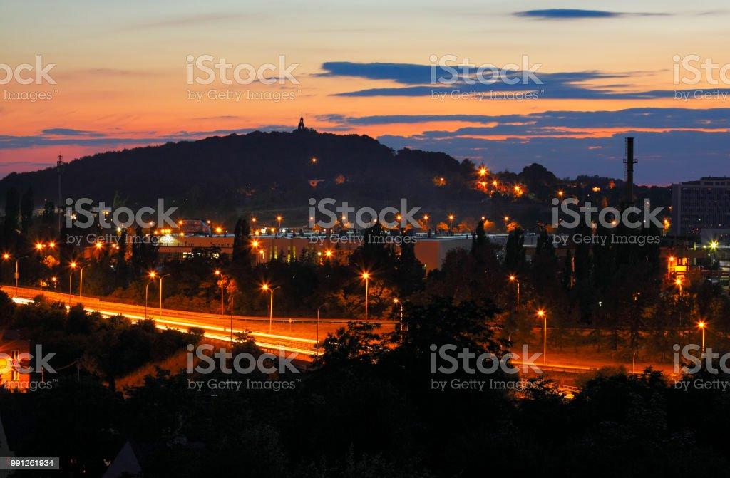 Cityscape at late dusk stock photo