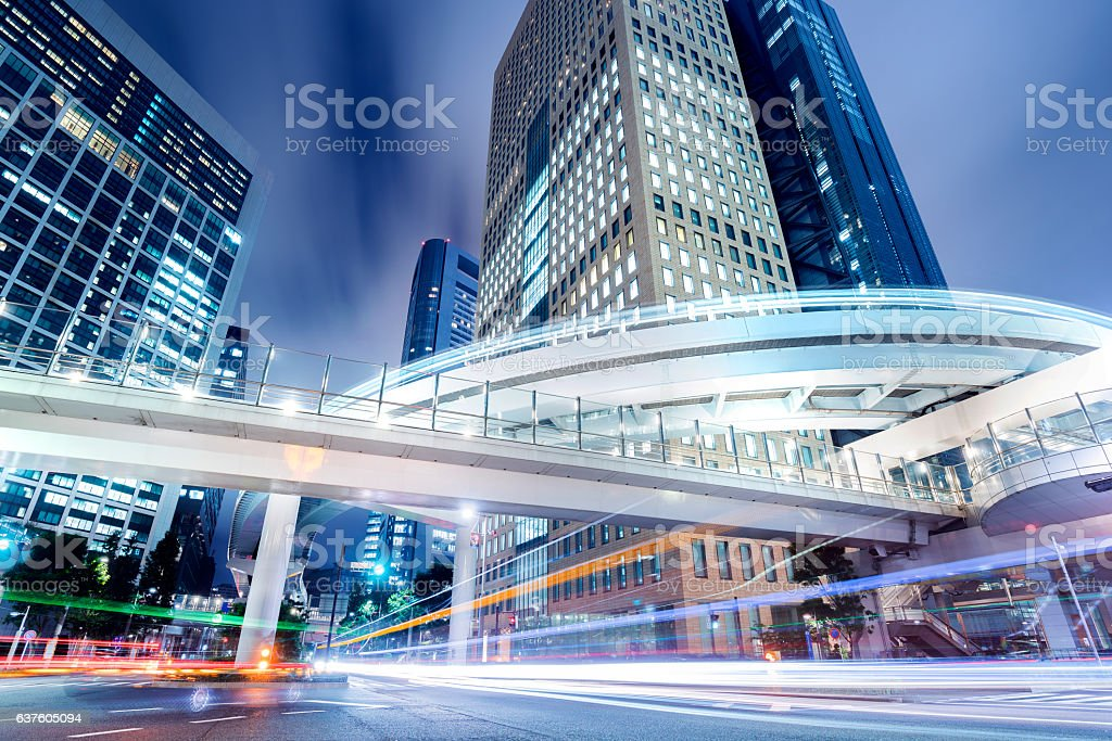 Cityscape at Night in Shiodome District, Tokyo, Japan stock photo