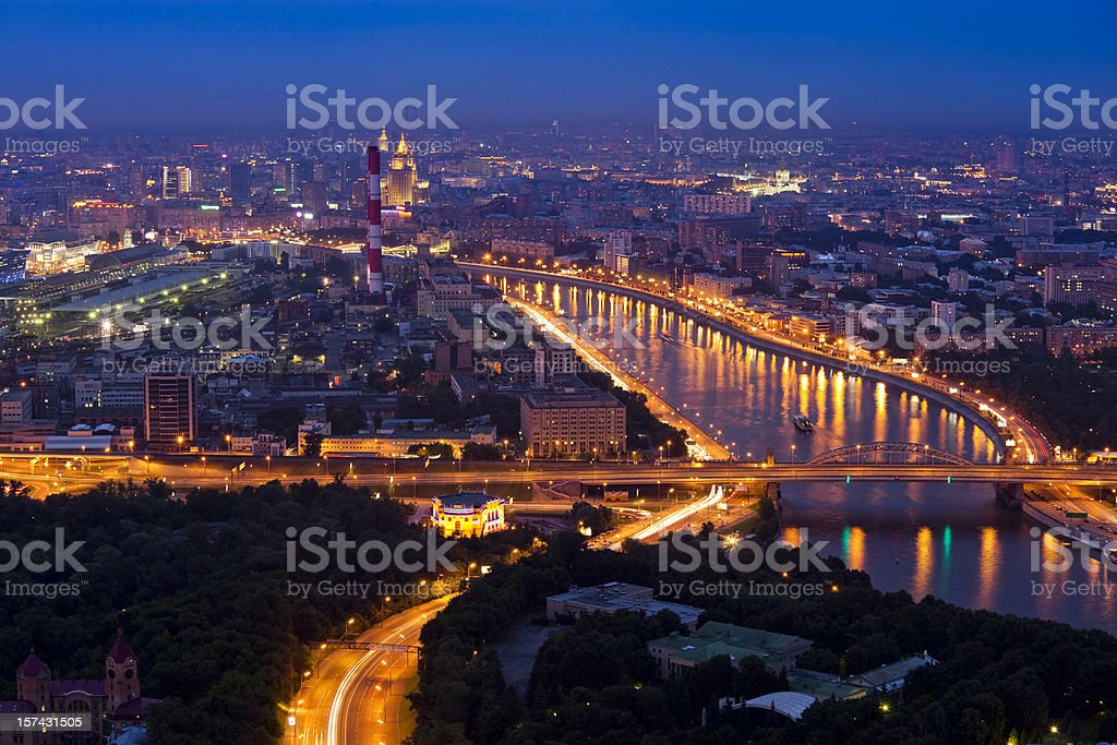 Cityscape at night royalty-free stock photo