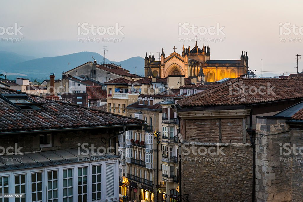 Cityscape at night, Vitoria-Gasteiz, Basque Country, Spain stock photo