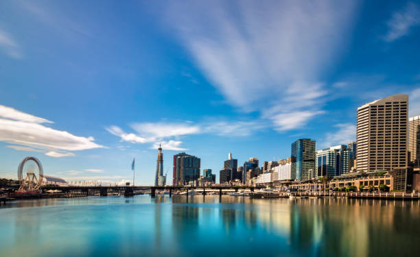 Cityscape at Pier 26 and Darling Harbour in Sydney, Australia stock photo