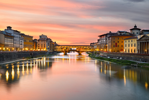 Cityscape at Ponte Vecchio over Arno River at Sunset, Florence, Tuscany, Italy