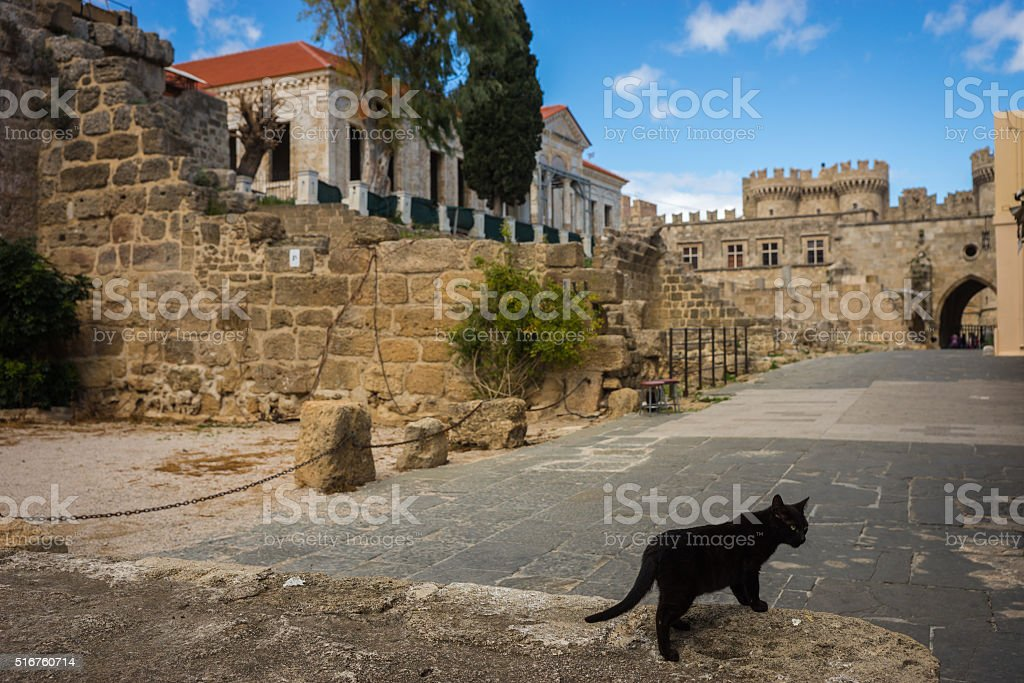 Cityscape at Rhodes old town, Greece stock photo