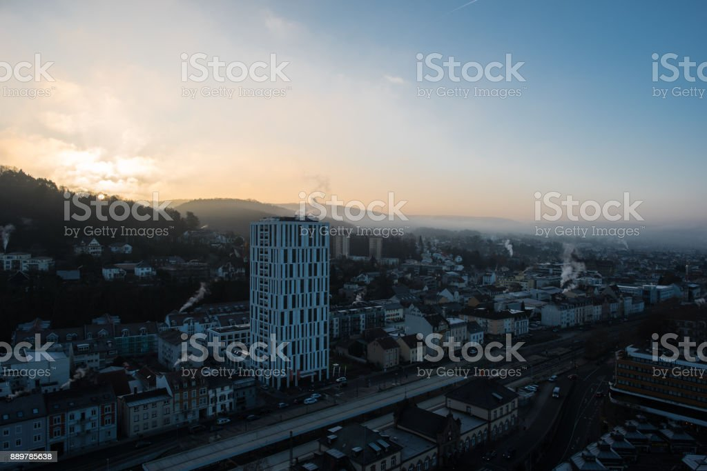 cityscape at sunrise in winter time dezember 2017. loerrach germany stock photo