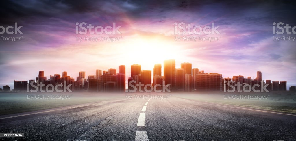 Cityscape At Sunset View Highway - Business Concept royalty-free stock photo