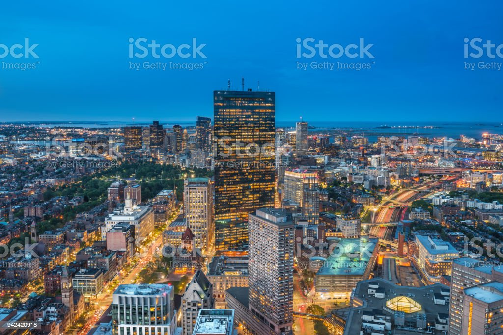 Cityscape at the blue hour, Boston, Massachusetts, USA stock photo