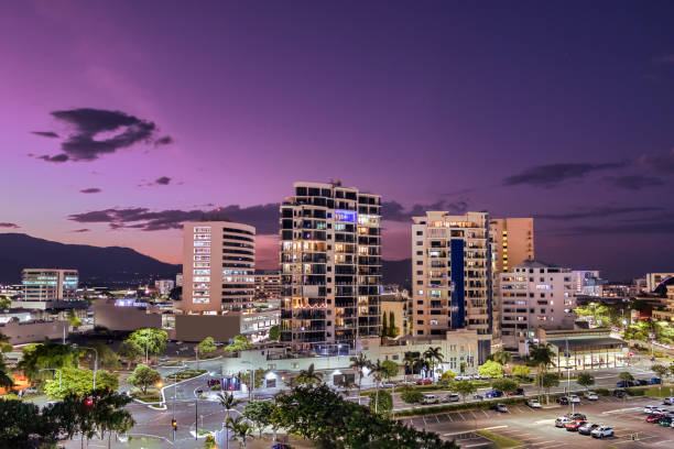 Cityscape at the Port of Cairns at dusk in Queensland, Australia stock photo