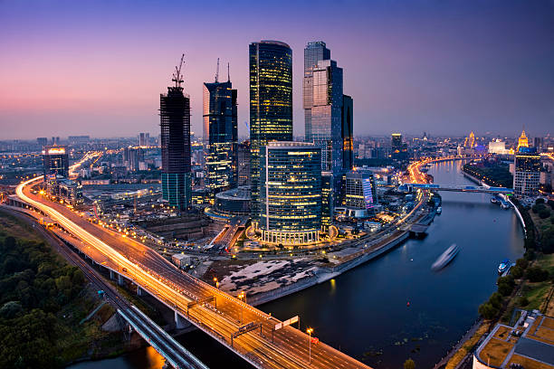Cityscape at twilight. Bird's eye view http://www.mordolff.ru/is/_lb_moscow_cityscape_11.jpg moscow russia stock pictures, royalty-free photos & images
