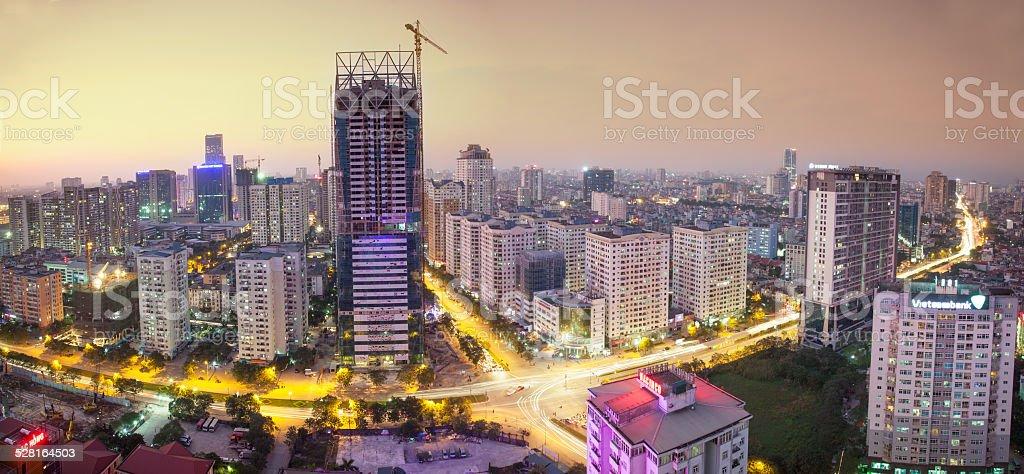 Cityscape at twilight stock photo