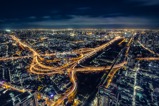 istock Cityscape Bangkok downtown at night, from the top of BAIYOKE Sky, Thailand. and technique long exposure and HDR filter. 648117880