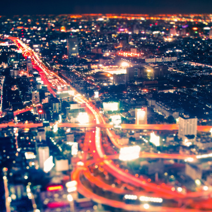 Cityscape By Night Tilt Shift Lens Stock Photo - Download Image Now