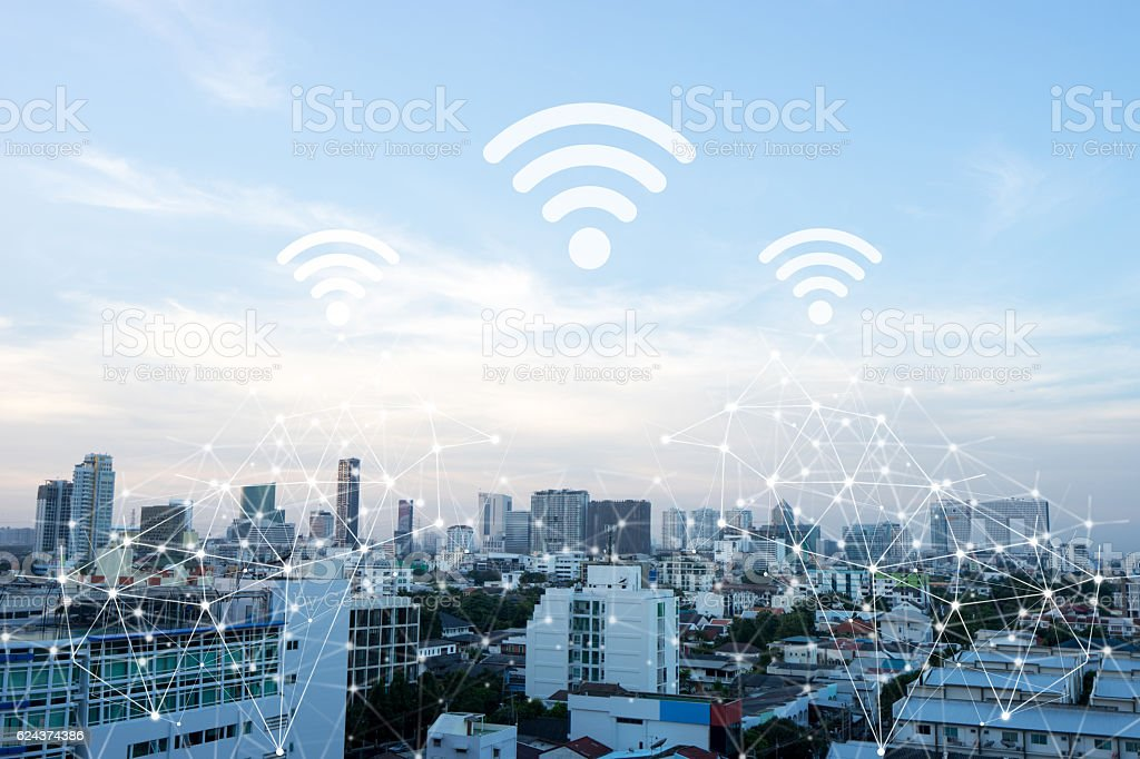 Cityscape connected line with wifi sign. bildbanksfoto