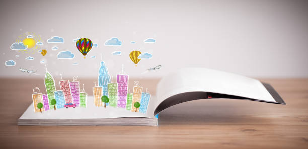 cityscape drawing on open book - fairy tale stock pictures, royalty-free photos & images