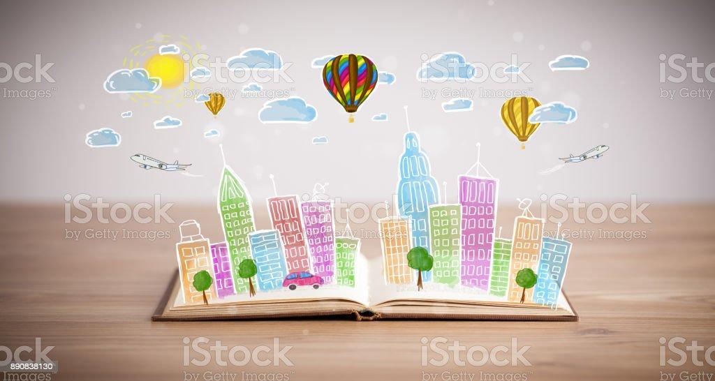 cityscape dibujo de libro abierto - foto de stock