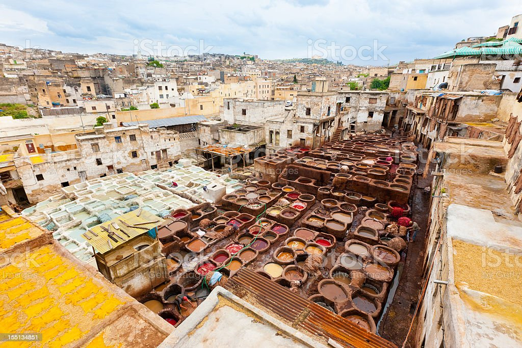 Cityscape Fez Fes Leather Tannery Morocco Africa royalty-free stock photo