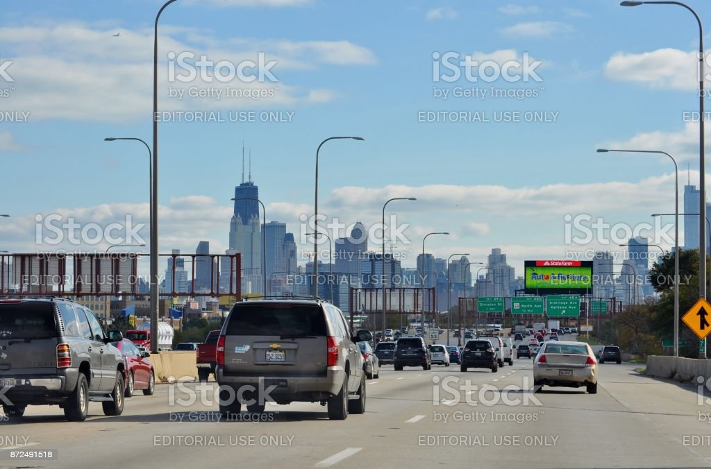 Chicago Il Usa October 31 2017 Cityscape From Highway I90
