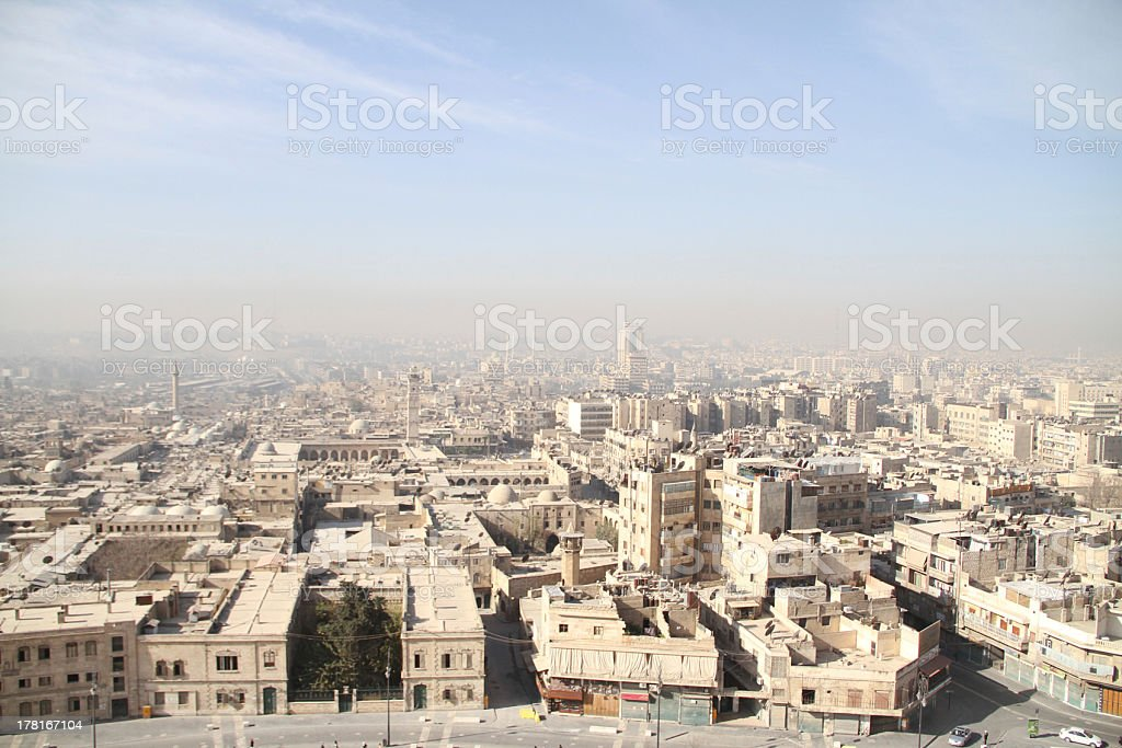 Paysage urbain de la ville historique de Allepo Citadelle Syrie - Photo