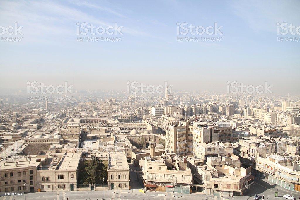 Cityscape from Historic Allepo Citadel Syria stock photo
