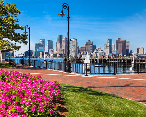 Cityscape from the East Boston Pier's Park stock photo