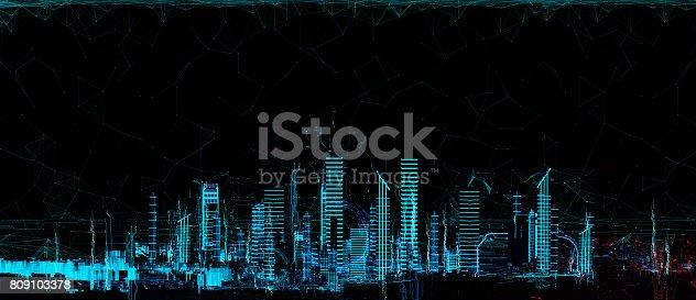 istock Cityscape futuristic 3d city neon light 809103378