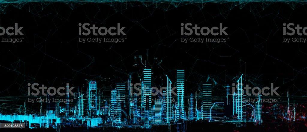 Stadsgezicht futuristische 3d stad neon licht foto