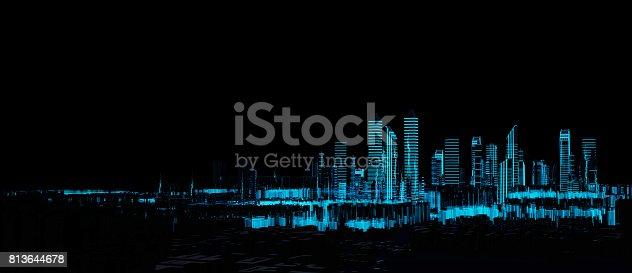 istock Cityscape futuristic 3d city neon light 813644678