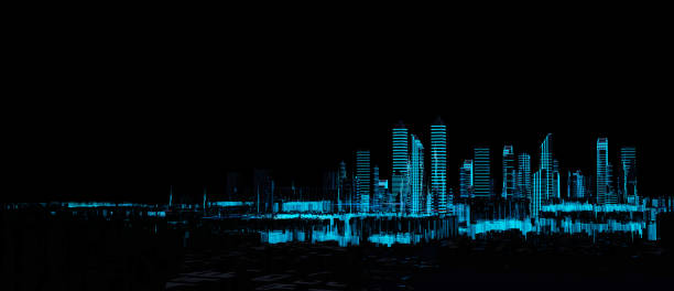 cityscape futuristic 3d city neon light - hologram stock photos and pictures