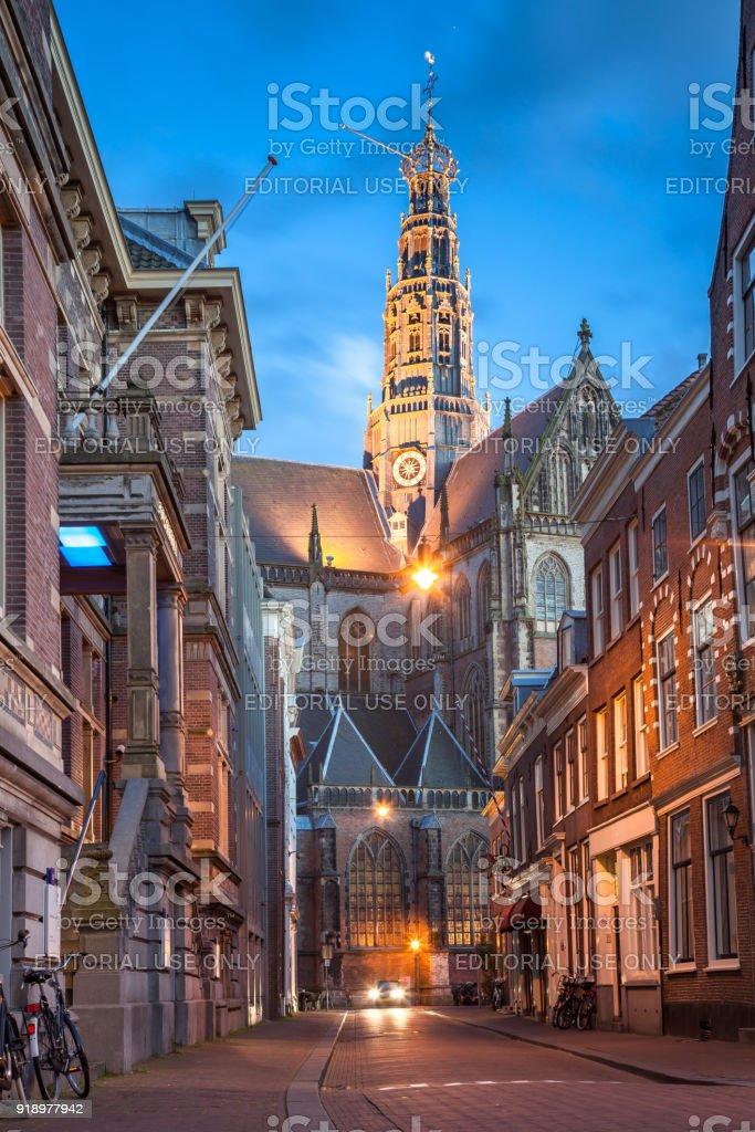 Cityscape Haarlem center stock photo