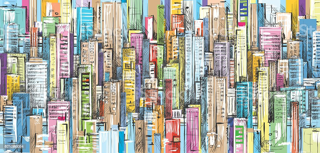 Cityscape hand drawn background stock photo
