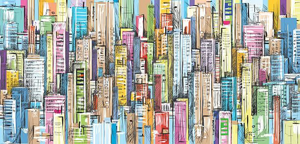 Cityscape hand drawn background stock photo